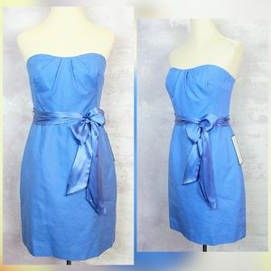 NWT J. Crew Blue Strapless Belted Cotton Dress